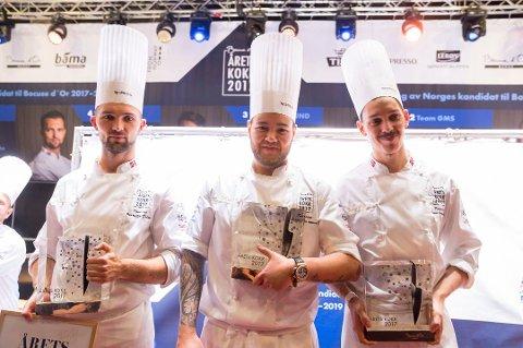 Kommer hjem: Christian Andre Pettersen (i midten) vant NM-gull i kokkekunst. Nå kommer han hjem til Bodø hvor han ikke har vært på over ett år.