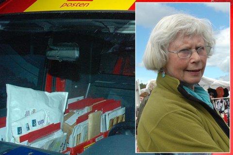 Elsa Norum fra Misvær reagerer sterkt på at hun ikke lenger får pakkene tilsendt direkte hjem.