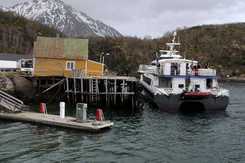 Ikke i bruk: Hurtigbåtkaia på Skutvik har ikke blitt benyttet siden  hurtigbåtanløpene ble fjernet. Nå håper lokale ildsjeler på å få  til ny aktivitet i havneområdet.