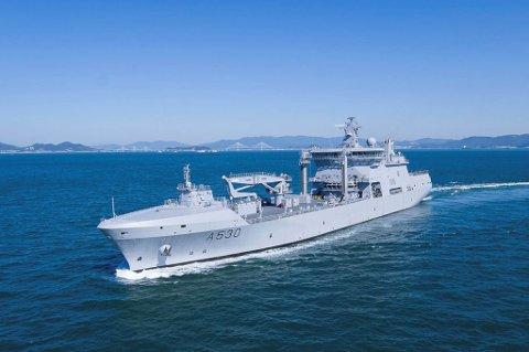 Busan, Sør-Korea 20190203. Det nye logistikkskipet til Sjøforsvaret, KNM Maud har forlatt Sør-Korea, og på vei hjemtil Norge.  Foto: Forsvarsmateriell/Forsvaret / NTB scanpix