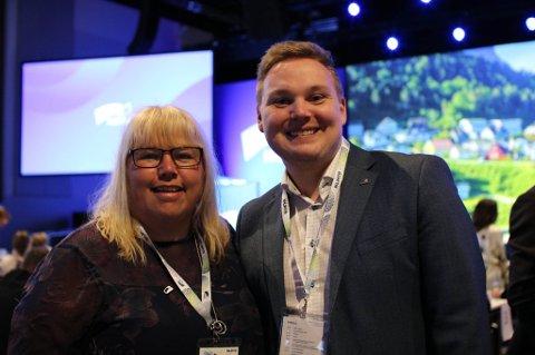 Fylkesrådslederkandidat beate Bø Nilsen og fylkesordførerkandidat Joakim Sennsvik i Høyre.