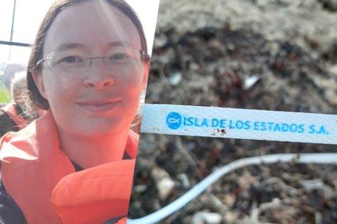 SØPPEl: Dette plastbåndet ble funnet på Skau, og stammer fra Argentina. Men hvordan endte det i Bodø?