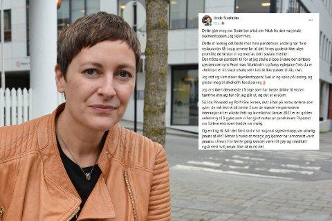 Linda Storholm sier hun skjemmes over Bodø kommunes forespørsel om unntak fra den nasjonale skjenkestoppen.