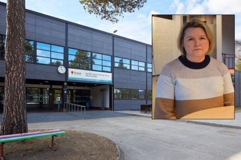 Rektor ved Saltdal videregående skole, Trine Kristensen, forteller at skolen gjør mange grep for å bremse utbruddet i størst mulig grad. Foto: Arkiv