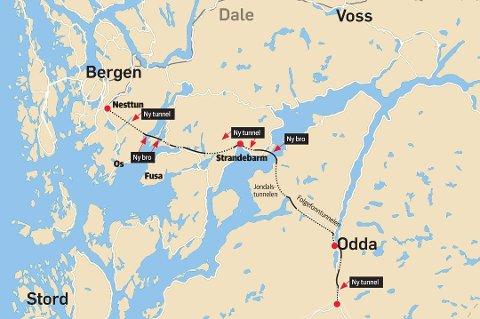 Hordalandsdiagonalen, slik den er skissert i øst/vest-utredningen til vegvesenet.