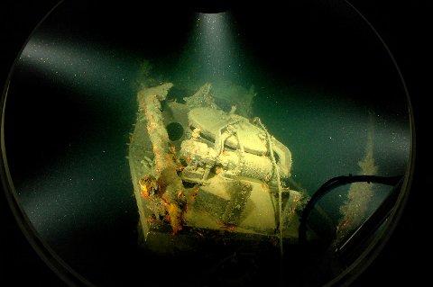 Ubåten Nautilus på 347 meters dyp i Byfjorden, der den ble senket i 1931. Den eksakte posisjonen er unntatt offentlighet.