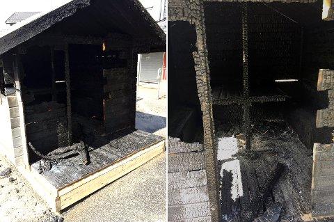 Lekehytten var helt utbrent etter brannen.