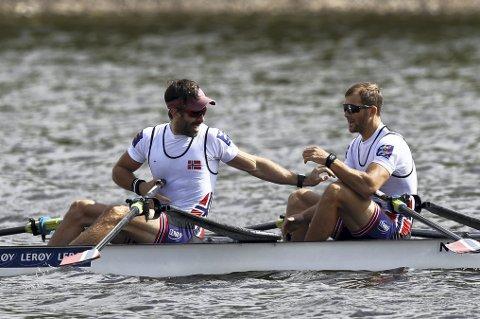 De norske roerne får stort sett oppmerksomhet hvert fjerde år, når de tar medaljer i OL, slik som Are Strandli (t.v.) og Kristoffer Brun har gjort. Arkivfoto: NTB scanpix