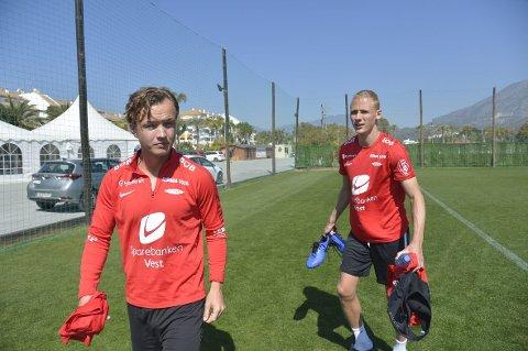 Fredrik Haugen og Kristoffer Barmen er skadet, det samme er Ludcinio Marengo. Her er Haugen og Barmen i Marbella i mars.