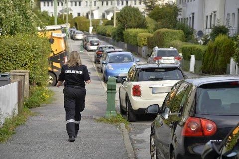 Gimleveien på Kronstad var en av gatene som fikk besøk av parkeringsvaktene torsdag.