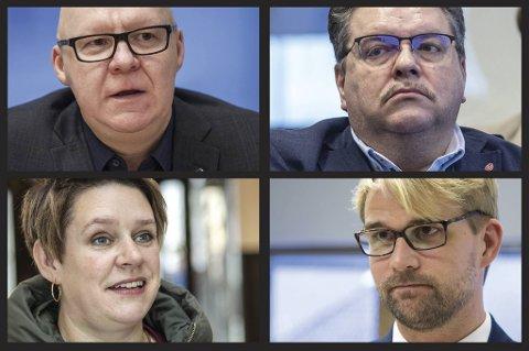 Varaordfører Rune Bakervik, leder av Ap i Bergen Geir Steinar Dale, ordfører Marte Mjøs Persen og byrådsleder Roger Valhammer ville alle blitt rammet av en foreslått regelendring i Ap i Bergen. FOTOMONTASJE: BA
