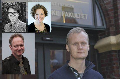 UiB-ansatte Hans Fredrik Marthinussen og kollegene (innfelt) Eirik Vassenden, Jill Walker Rettberg og Daniel Jung er svært kritiske til at fadderuken arrangeres.