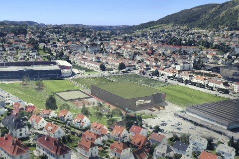 Bergen Håndball (tidligere FyllingenBergen) har foreslått å bygge denne hallen på Nymark, mellom Brann Stadion og Haukelandshallen.