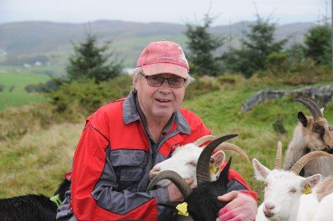 Fornøyd: Tjærand Frafjord er tilfreds med at løsningen hans med geiter oppe på heia ovenfor Helland på Rennesøy er vellykket. - Geitene er fabelaktige landskapspleiere, sier han.