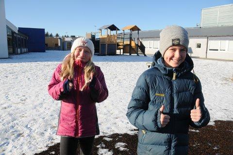 Tillitsvalgt: Sjetteklassingene Victoria Messmer og Marius Habbestad Skjold er med i elevrådet ved Moster skole, og de har vært med å bestemme litt om hvordan skolegården deres skal bli oppgradert.