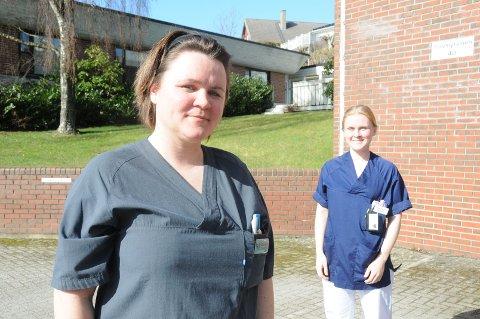 Fagmiljø og lønn: Caroline Hølland (t.v.) og Kaja Stusvik er sykepleiere i Randaberg kommune, og henholdsvis hovedtillitsvalgt og plasstillitsvalgt for sykepleiere i landsbyen.