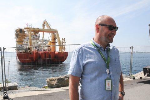 Fornøyd: Tor Kristian Gyland mener Smedvig har fått avtale med en ny eier av datalagringsselskapet Green Mountain, som nå er solgt. Her er administrerende direktør Gyland på Rennesøy i starten av juni da arbeidet med å legge ny fiberkabel i Nordsjøen til England startet.