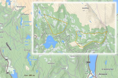Disse to områdene vil Sigdal kommune ha med som utbyggingssone i den regionale planen for Norefjell-Reinsjøfjell. Kommunen fikk ikke medhold hos fylkesrådet, men gir seg ikke. PS: Kartet er et grovkart og har ikke nøyaktige kantlinjer.