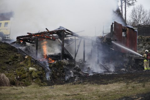BRANT NED: En driftsbygning brant ned til grunnen på Strannen ved Kjellesvik på Moi lørdag kveld.