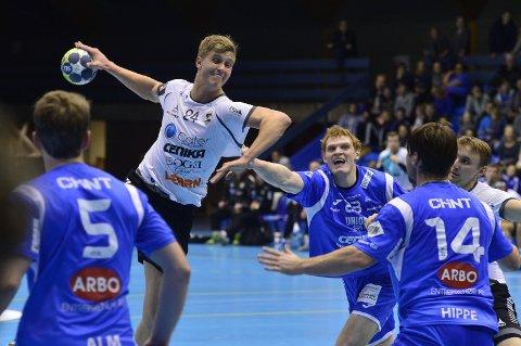 TOPPSCORER: Hermann Vildalen er toppscorer i St. Hallvard med 62 mål så langt denne sesongen. Her fra kampen mot Drammen.