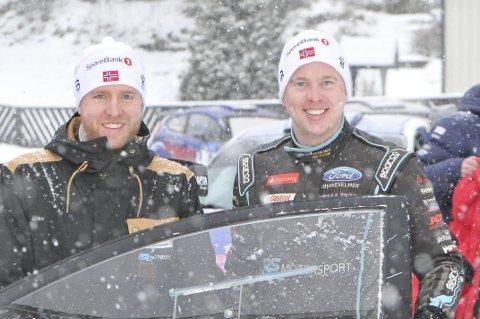 Frank Tore Larsen (t.v.) og Torstein Eriksen ble nummer fire sammenlagt i Numedalsrally.