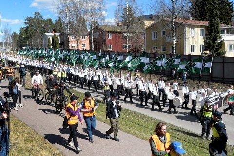 FALUN, SVERIGE 20170501. Nazistiska Nordiska motståndsrörelsen demonstrerar i Falun på första maj. Foto: Ulf Palm/TT / NTB scanpix