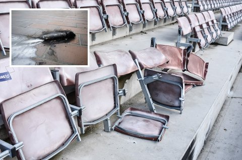 HÆRVERK: Her er noen av de minst ti ødelagte stolene på bortetribunen på Consto Arena i Mjøndalen.