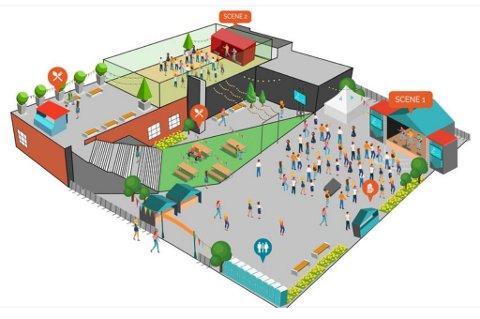 NYTT FESTIVALOMRÅDE: Illustrasjon av årets festivalområde på Brodahls-tomta, mellom Brodahls-bygget og Glitre Energi.
