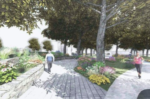 BOLTREPLASS FOR ELDRE: 19. juni skal Drammens nye eldrepark etter planen være klar for innvielse. Da skal blant annet ulike typer gangveier, bocciabane og duften av blomster friste de eldre til å bevege seg. llustrasjon Drammen kommune.