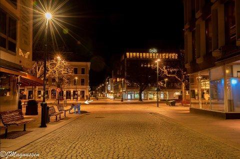 Denne gaupen dukker opp på et bilde som Jens M. Magnussen har lagt ut fra Bragernes torg.