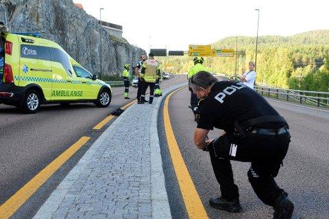 Ulykken skjedde på E134 mellom Kongsbergtunnelen og Kongsberg bru.