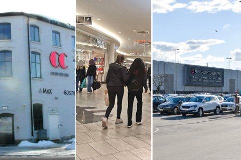 VARIERTE: Det varierte hvor mange poeng kjøpesentene fikk da kommunen sendte ut kontrollører i desember. På bildet CC kjøpesenter, Gulskogen senter og Buskerud storsenter.