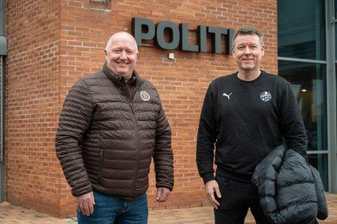 EKS POLITI: Svein Erik Gevelt (t.v.) og Bjørn Furuheim jobbet sammen i politiet. Nå jobber eks politimennene for de to erkerivalene MIF og SIF.