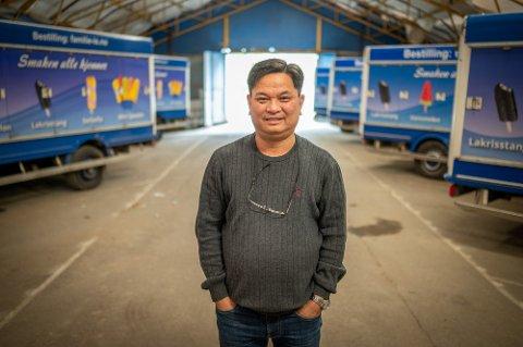 GODT IS-ÅR: Thang Quoc Vu kan smile over koronaåret, rent jobbmessig. Selskapet hans Familie-Is i Hokksund omsatte for 12,2 millioner. I 2018 var omsetning på 6,5 millioner.