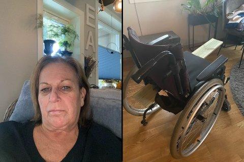 IKKE FORNØYD: Elisabeth Gjermstad (55) fra Loesmoen måtte kjøpe en planke for å bruke rullesolen hun fikk av kommunen.