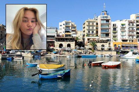 KARANTENE: 15-åringen Emmy Vestengen hadde lenge gledet seg til språkreisen i Malta. Så havnet hun i karantene. Foto: Terje Pedersen/NTB og privat foto