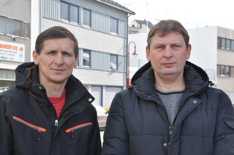 SINTE: Arúnas Mankauskas og Darius Grybauskas  har jobbet for Johan B. Larsen fisk AS i Skarsvåg i ett år og tre måneder. Etter uenigheter om overtidsbetaling, står de nå uten jobb.