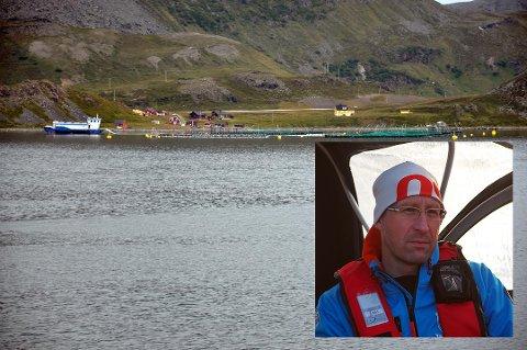 Anlegget til Grieg Seafood as på Sarnes. Innfelt er Vidar Nikolaisen, produksjonssjef Grieg Seafood Finnmark.