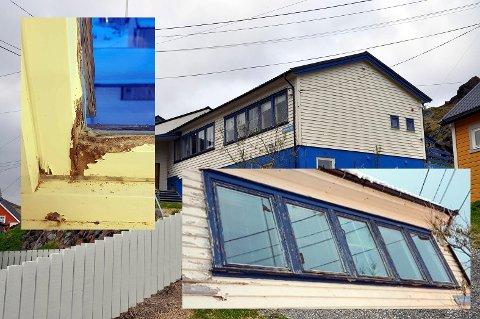 Vinduene på Kamøyvær Bygdelags hus må skiftes. De er i ferd med å gå i oppløsning.