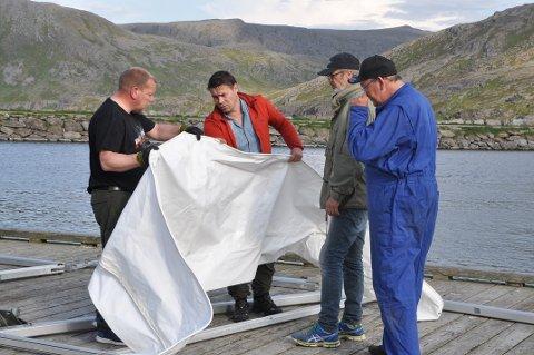 OPPRIGG: Søndag ettermiddag ble festivalteltet satt opp på brygga i Skarsvåg. Dugnadsgjengen har utført denne oppgaven noen ganger nå og er blitt en dreven gjeng.