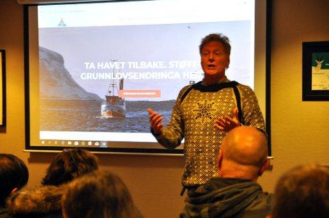"""AVLYST: """"Ta havet tilbake!"""" i regi av Nordkapp SV ble gjennomført for 1,5 år siden. Her med leder for partiet Johnny Ingebrigtsen."""