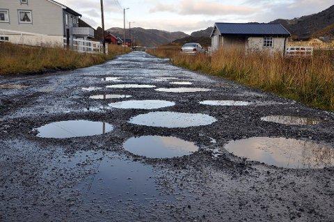 Slik ser veien til Sætervågen ut. Den lappes med jevne mellomrom, men større utbedringer må gjøres.