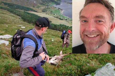 Svein Olav Senneset innfelt i eit bilde frå Dalen jaktvald i ytre.
