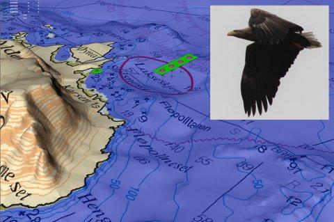 ALDEN: Ein tenker seg å plassere fire merdar, 60 meter i diameter, i havet nord for Alden.