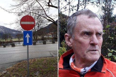 FORVIRRANDE: – Kva fortel eigentleg denne skiltinga her? spør Kurt Erik Grønli.
