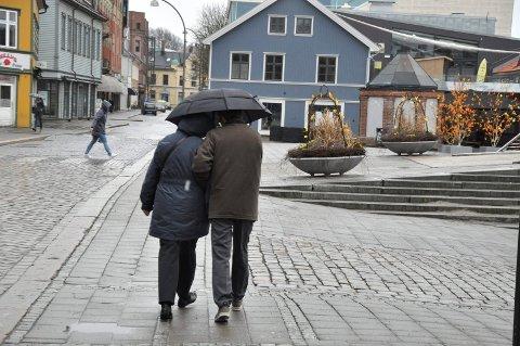 VÅTT OG GRÅTT: De neste dagene blir ganske så våte i Fredrikstad, men til helgen er kulda – og trolig litt snø – tilbake.