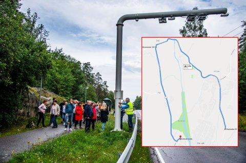 Demonstrerte: Over 30 Ambjørnrød-innbyggere demonstrerte tirsdag mot bomstasjonen i Veumveien. Kartet viser hvor langt beboerne nå må kjære for å komme til nærmeste matbutikk uten å passere en bom.