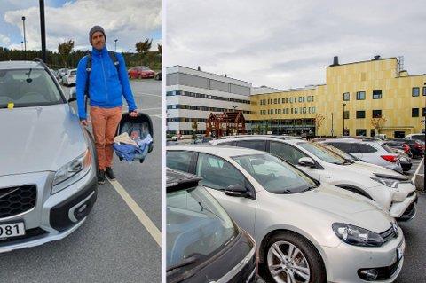 OPPGITT: Lege Remi Nilsen (35) mener parkeringen burde vært gratis for pasienter og pårørende ved Kalnes. Han fikk selv p-gebyr da samboeren nylig fødte barn.