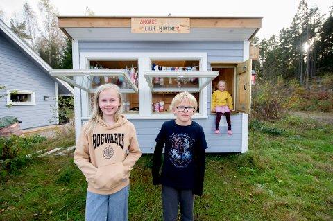 Snorre (9) og Emilies (11) lille hjørne i Torsnes. Den vesle kiosken er plassert ved familiens hus, som ligger strategisk plassert ved turløyper. Lillesøster Snøfrid (5) får også være med i kioskdriften innimellom.