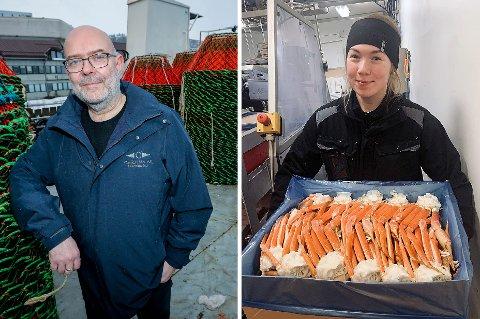 ANNEN HVERDAG: Snøkrabbefiskerne Karl Olav Kjile Pettersen (t.v) og Ida Marie Grape (t.h) mener hverdagen til krabbefiskerne i tv-serien «Deadliest Catch» ikke svarer til virkeligheten på norske krabbebåter.